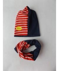 """Kepurė su mova """"Dvispalvė raudona"""" pavasariui"""